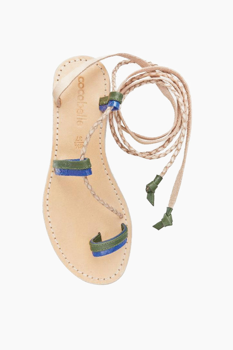 COCOBELLE Sahara Sandals - Olive Sandals | Olive| Sahara Sandals - Wrap up those ankles! These beautiful handmade leather wrap sandals feature a bicolor toe loop and braided leather wrap ties.  Leather Upper  Braided Leather Wraps  Cushioned Rubber Sole Front View