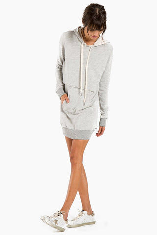 N:PHILANTHROPY Sammy Dress - Heather Grey Dress | Heather Grey| N:PHILANTHROPY Sammy Dress - Heather Grey. Features: Hooded sweatshirt dress with contrast drawstring Attached drawstring waist Long sleeves Front kangaroo pocket Pullover style Front View