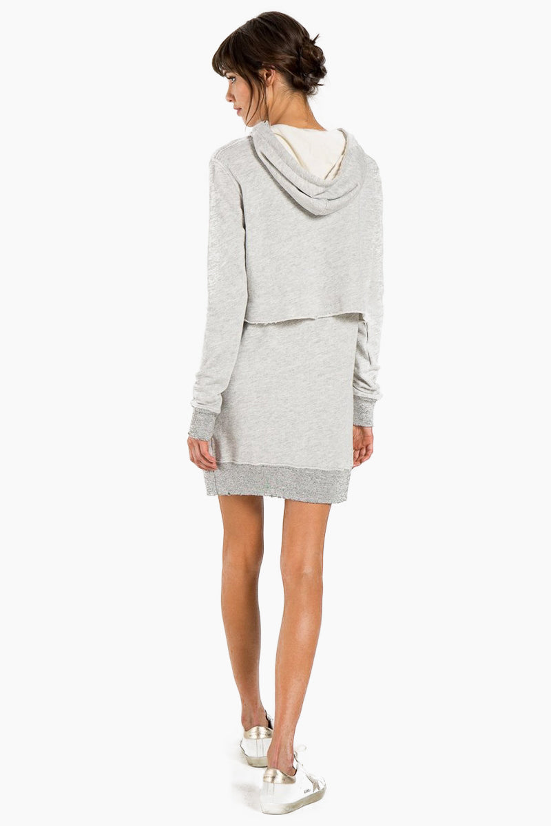 N:PHILANTHROPY Sammy Dress - Heather Grey Dress | Heather Grey| N:PHILANTHROPY Sammy Dress - Heather Grey. Features: Hooded sweatshirt dress with contrast drawstring Attached drawstring waist Long sleeves Front kangaroo pocket Pullover style Back View