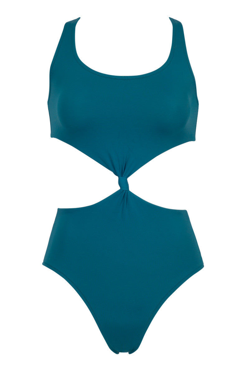 SOLID & STRIPED The Bailey Knot-Front Cut-Out One Piece Swimsuit - Jade One Piece | Jade|The Bailey Knot-Front Cut-Out One Piece Swimsuit