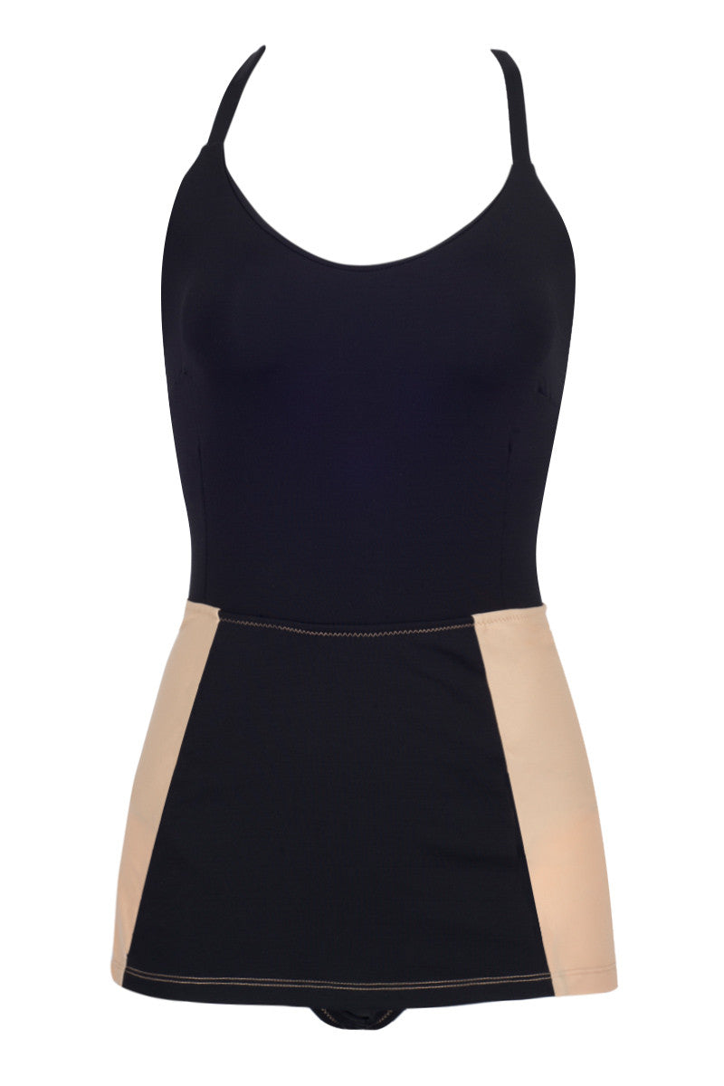 KORE Daphne Color Block Skirted One Piece Swimsuit - Black/Cookie Dough Brown One Piece | Black/Cookie Dough Brown| KORE Daphne Color Block Skirted One Piece Swimsuit - Black/Cookie Dough Brown