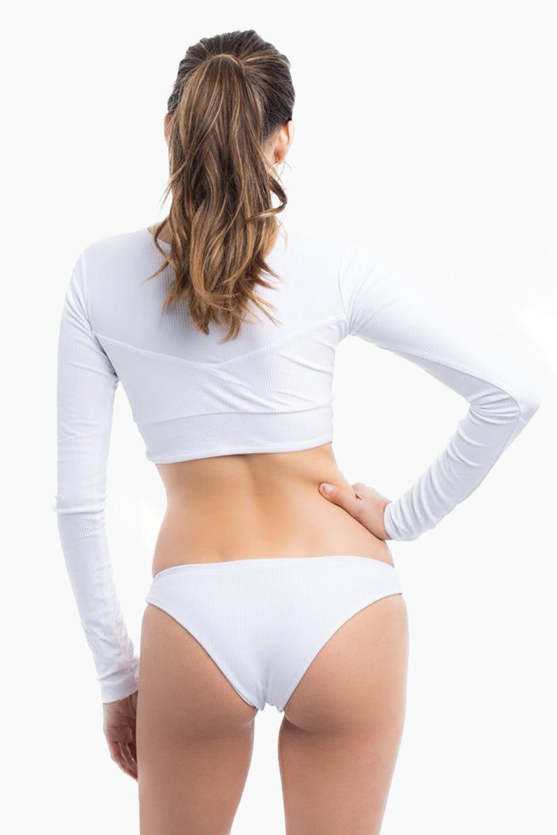 ELLE MER Sandbar Rashguard - White Bikini Top | White|Sandbar Rashguard - Features:  Three panel design Invisible lining over bust panel Tapered longsleeves SPF 50 protection Cropped style