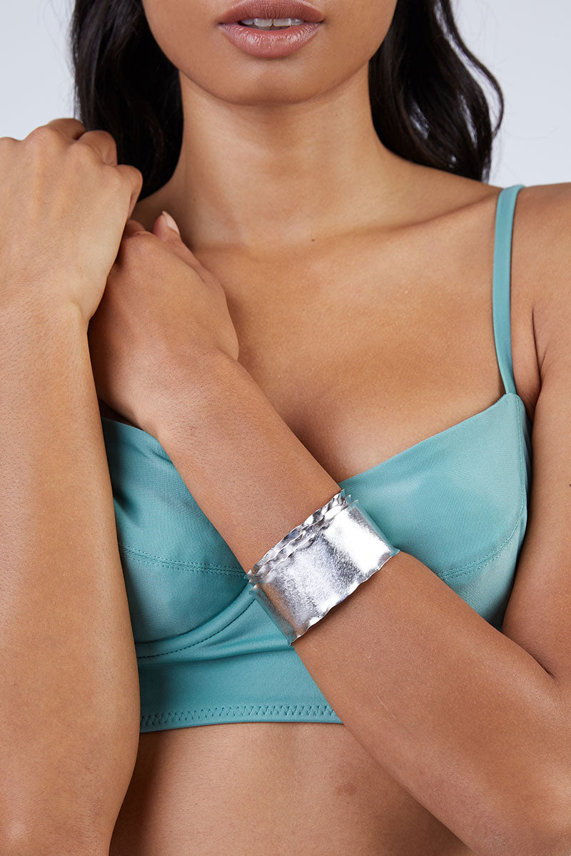 MARCIA MORAN Sandelle Bracelet - Silver Jewelry | Silver| Marcia Moran Sandelle Bracelet - Silver Triple layered rhodium plated cuff Side View