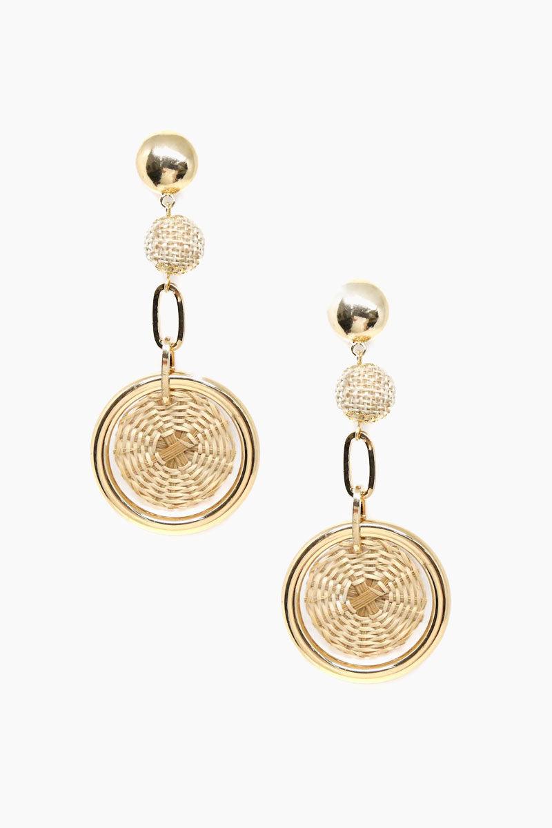ETTIKA Sandy Day Earrings - Tan & Gold Jewelry | Tan & Gold| Ettika Sandy Day Earrings - Tan & Gold Full View Dangling Earrings Wicked Ball & Disc Detail 18kt Gold Plated Surgical Steel Posts Nickel Free