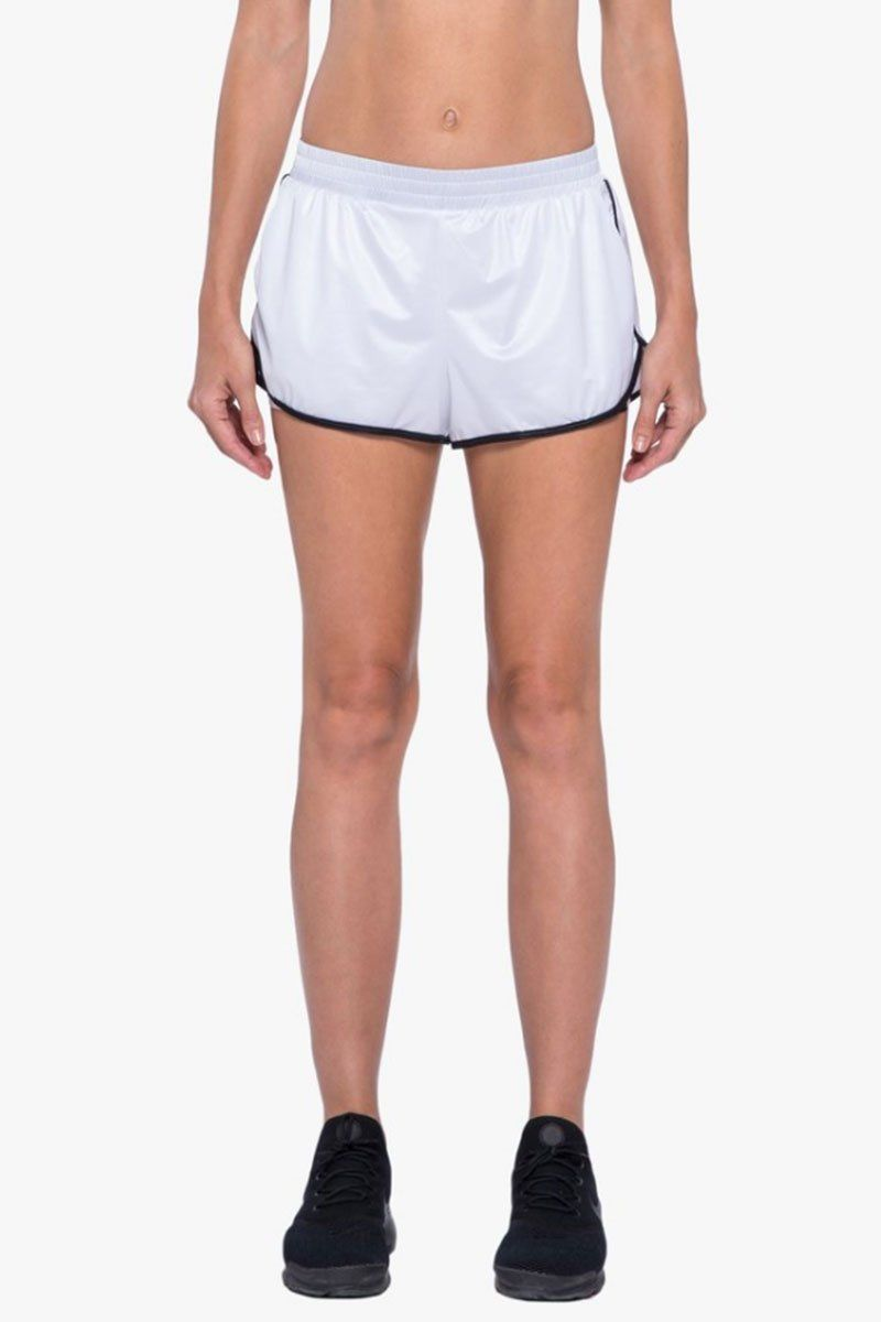 KORAL Scout Double Layer Shorts - White/Black Shorts |  White/Black| Koral Scout Shorts - White/Black. Features:  Running short with contrast binding.  Double layer  Evanesce undershort.  Meant for Athleisure performance. Front View
