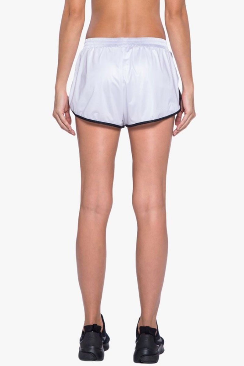 KORAL Scout Double Layer Shorts - White/Black Shorts |  White/Black| Koral Scout Shorts - White/Black. Features:  Running short with contrast binding.  Double layer  Evanesce undershort.  Meant for Athleisure performance. Back View