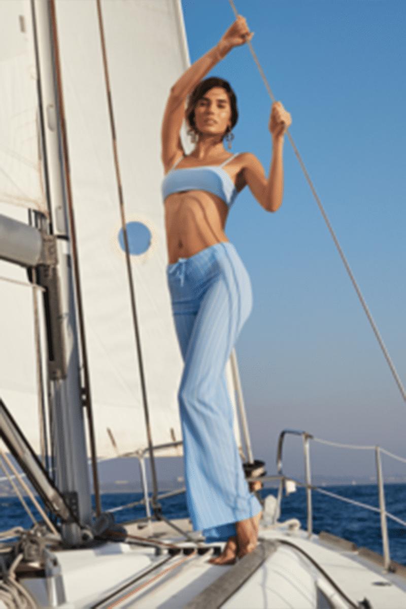 ELLEJAY Lauren Bandeau Bikini Top - Blue Texture Bikini Top   Blue Texture  Ellejay Lauren Bikini Top - Blue Texture Bandeau style Thin straps Adjustable straps Blue top Flatlay View