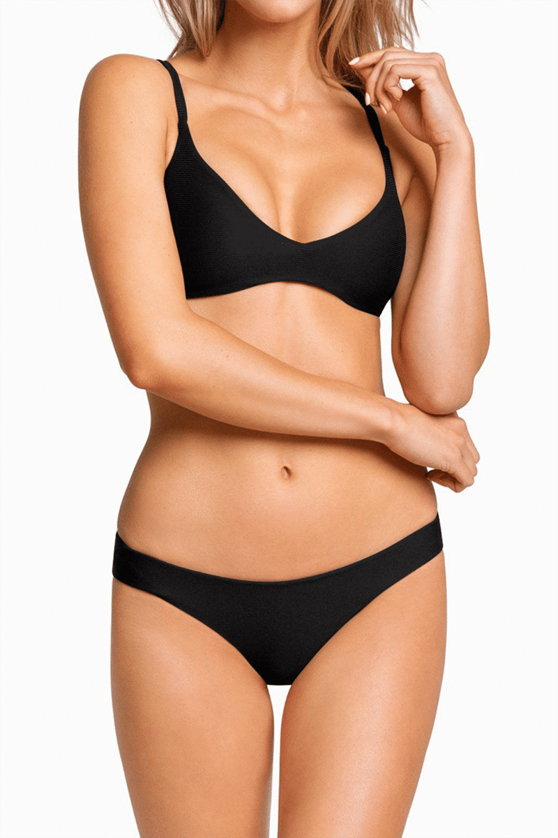 BOYS + ARROWS Clairee Cheeky Bikini Bottom - Black Bikini Bottom | Black| Boys + Arrows Clairee Cheeky Bikini Bottom - Black Low-rise scrunch butt seamless hipster bikini bottom. Wide side straps provide an ultra-comfortable fit that never digs in. Ruched center seam at back Front View