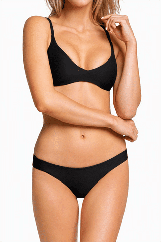BOYS + ARROWS Clairee Cheeky Ruched Bikini Bottom - Black Bikini Bottom | Black| Boys + Arrows Clairee Cheeky Ruched Bikini Bottom - Black Low-rise scrunch butt seamless hipster bikini bottom. Wide side straps provide an ultra-comfortable fit that never digs in. Ruched center seam at back Front View