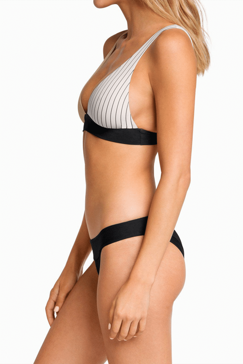 BOYS + ARROWS Fillis Long Triangle Bikini Top - Business Casual Bikini Top | Business Casual| Boys + Arrows Fillis Long Triangle Bikini Top - Business Casual Long Triangle Top  Wide Underband  Fixed Thin Shoulder Straps Side View
