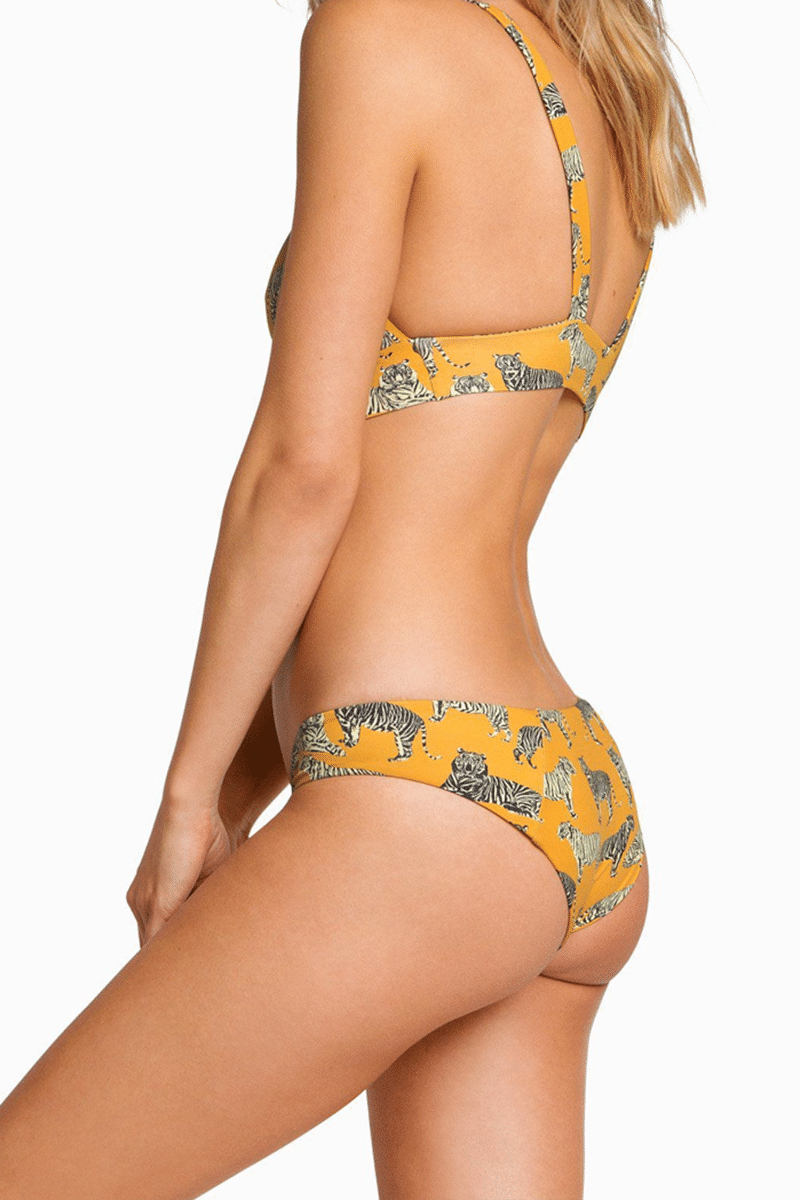 BOYS + ARROWS Fillis Long Triangle Bikini Top - Cat Bikini Top | Cat| Boys + Arrows Fillis Long Triangle Bikini Top - Cat Long Triangle Top  Wide Underband  Fixed Thin Shoulder Straps Side View