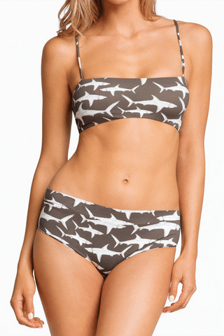 BOYS + ARROWS Hezeus Bandeau Bikini Top - Hood Fish Bikini Top | Hood Fish| Boys + Arrows Hezeus Bandeau Bikini Top - Hood Fish Classic bandeau-style bikini top with thin straps for extra support. The straps and full breast coverage make this a bandeau even D-cup girls can wear. Sleek, seamless design with a stretch fit that's ultra-comfortable and perfect for all-day wear. Front View