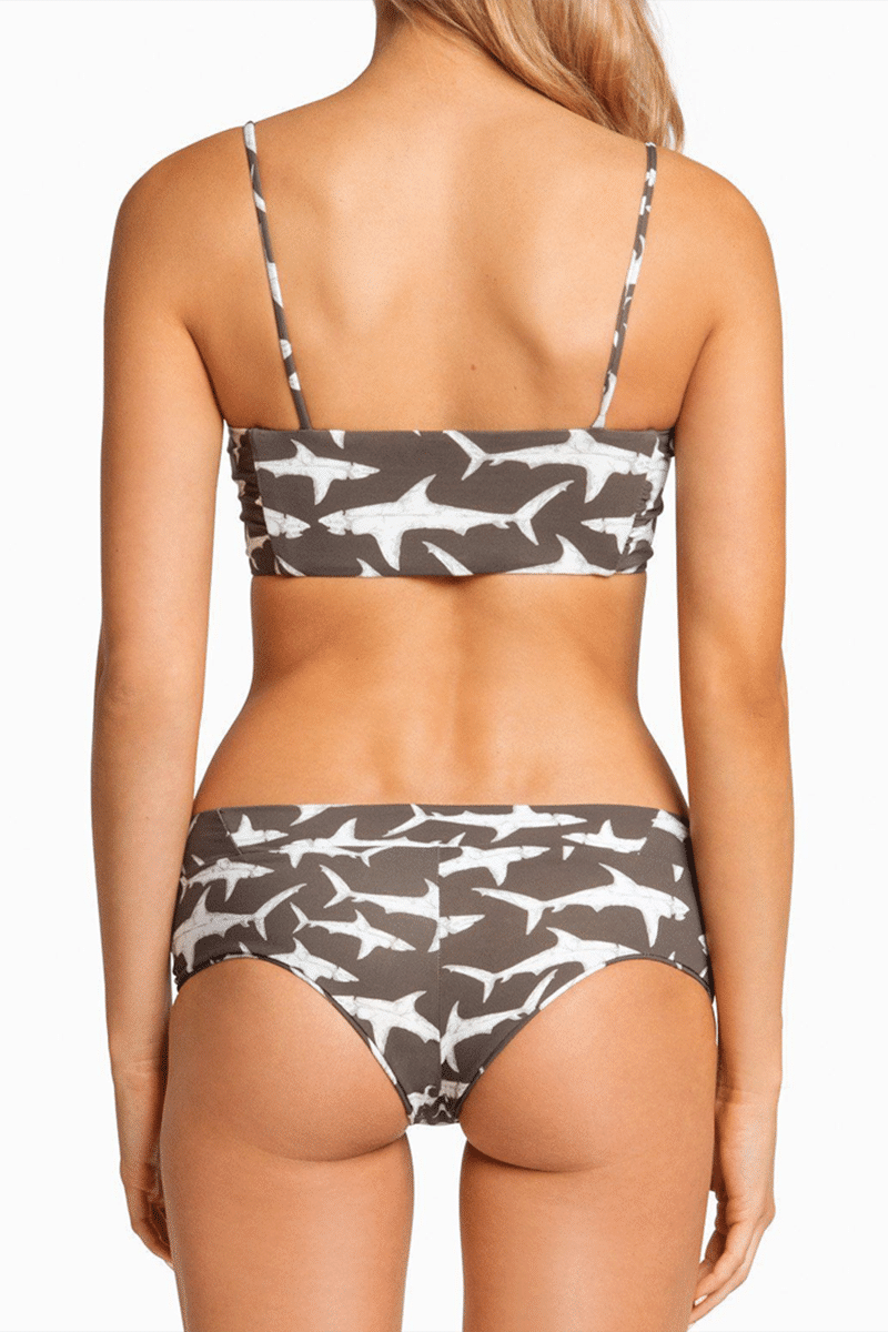 BOYS + ARROWS Hezeus Bandeau Bikini Top - Hood Fish Bikini Top | Hood Fish| Boys + Arrows Hezeus Bandeau Bikini Top - Hood Fish Classic bandeau-style bikini top with thin straps for extra support. The straps and full breast coverage make this a bandeau even D-cup girls can wear. Sleek, seamless design with a stretch fit that's ultra-comfortable and perfect for all-day wear. Back View