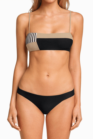 BOYS + ARROWS Hezeus Christo Bandeau Bikini Top - Business Casual Bikini Top | Business Casual|Boys + Arrows Hezeus Christo Bandeau Bikini Top - Business Casual Classic bandeau-style bikini top with thin straps for extra support. The straps and full breast coverage make this a bandeau even D-cup girls can wear. Sleek, seamless design with a stretch fit that's ultra-comfortable and perfect for all-day wear. Front View