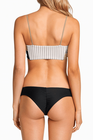 BOYS + ARROWS Hezeus Christo Bandeau Bikini Top - Business Casual Bikini Top | Business Casual|Boys + Arrows Hezeus Christo Bandeau Bikini Top - Business Casual Classic bandeau-style bikini top with thin straps for extra support. The straps and full breast coverage make this a bandeau even D-cup girls can wear. Sleek, seamless design with a stretch fit that's ultra-comfortable and perfect for all-day wear. Back View