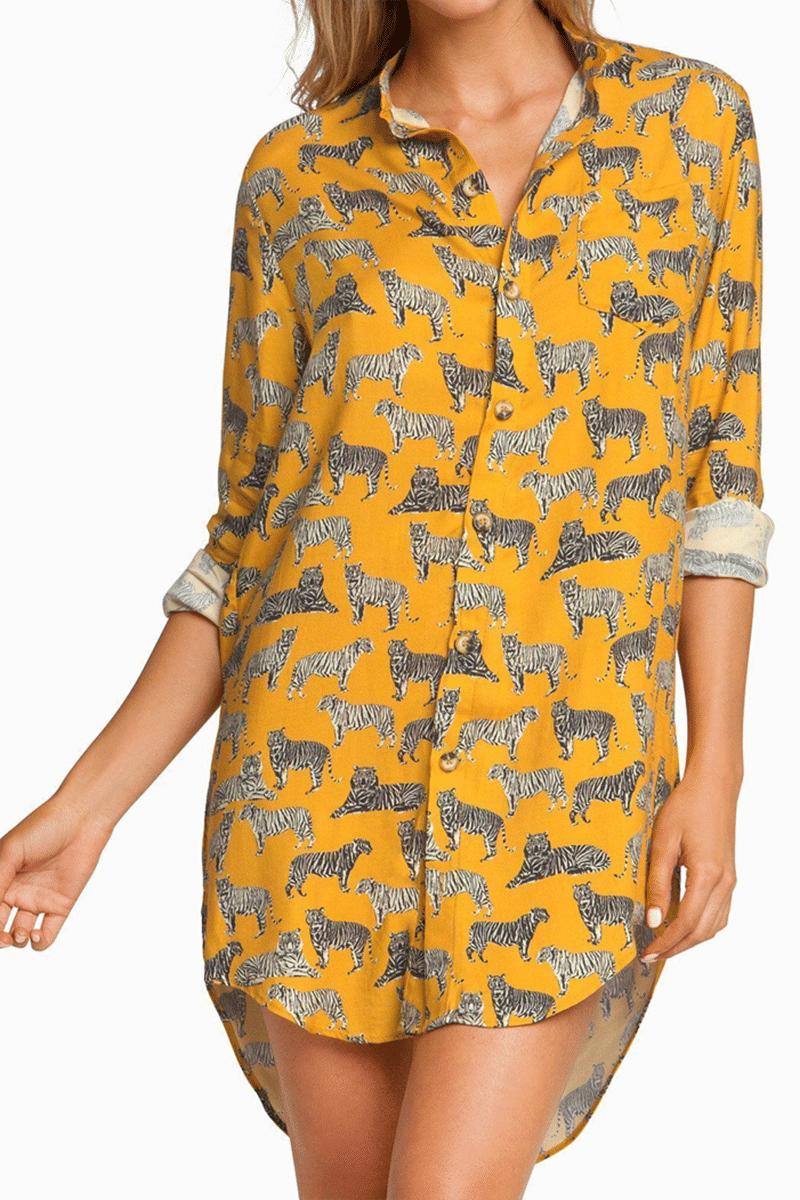 BOYS + ARROWS It's Not You, It's Me Long Button Down Shirt Dress - Cat Dress | Cat| It's Not You, It's Me Long Button Down Shirt Dress - Cat