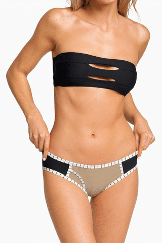 BOYS + ARROWS Knowles Hipster Bikini Bottom - Business Casual Bikini Bottom | Business Casual| Knowles Hipster Bikini Bottom - Business Casual. Features:  Hipster style Colorblocking design Stretch fit Front View