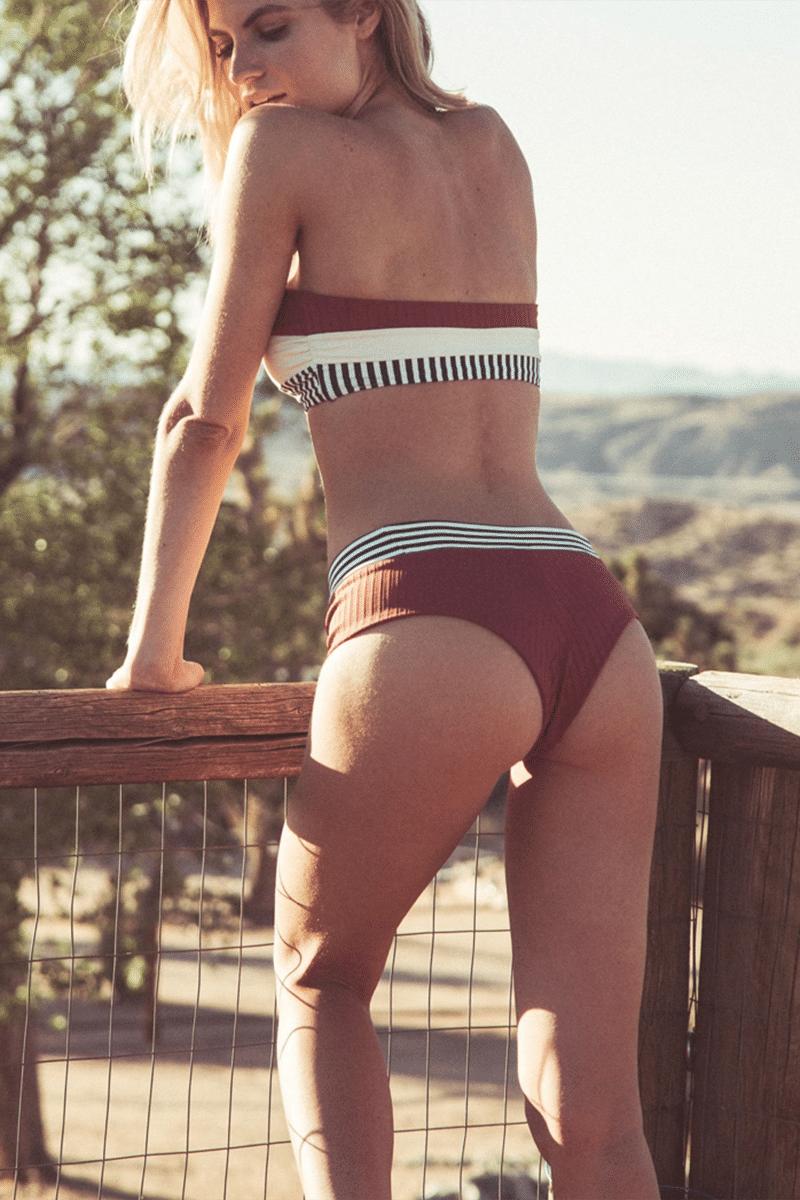 BOYS + ARROWS Raz Mid Rise Bikini Bottom - Brick Haus Bikini Bottom | Brick Haus| Boys + Arrows Raz Mid Rise Bikini Bottom - Brick Haus Mid Rise Bikini Bottom  Ribbed Fabric  Cheeky Coverage  Back View