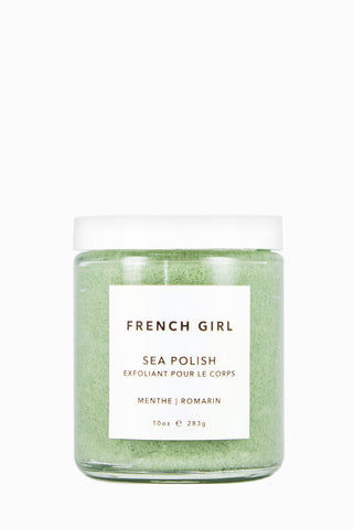 FRENCH GIRL ORGANICS Sea Polish Body Scrub - Menthe Romarin - 10 oz Beauty | Menthe Romarin| French Girl Organics Sea Polish Body Scrub - Menthe Romarin A nourishing body scrub composed of Atlantic sea salts, nourishing butters and fruit oils that work to gently exfoliate, detoxify and moisturize the skin. Suitable for all skin types. Stir well. Apply generously, massage into skin. May leave tub or shower slippery, please take precautions when using. Front View