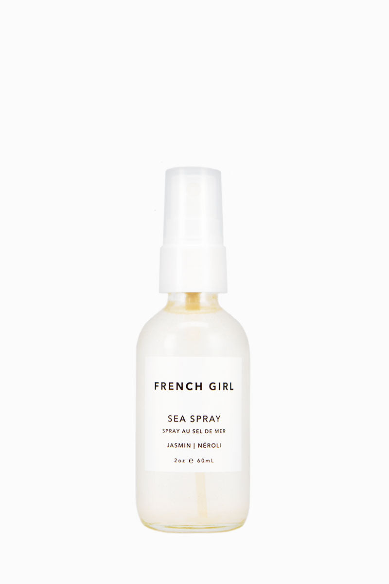 FRENCH GIRL ORGANICS Sea Hair Spray - Jasmin Néroli - 2 oz Beauty   Jasmin Néroli   French Girl Organics Sea Hair Spray - Jasmin Neroli A texturizing spray made with three varieties of organic sea salt and nourishing essential oils to leave hair with an effortless beachy look and soft, touchable feel. Now with added Organic Aloe and Panthenol for beneficial conditioning effects and hair strength. Shake well. Mist onto clean, towel-dried hair. Comb through and scrunch. Front View