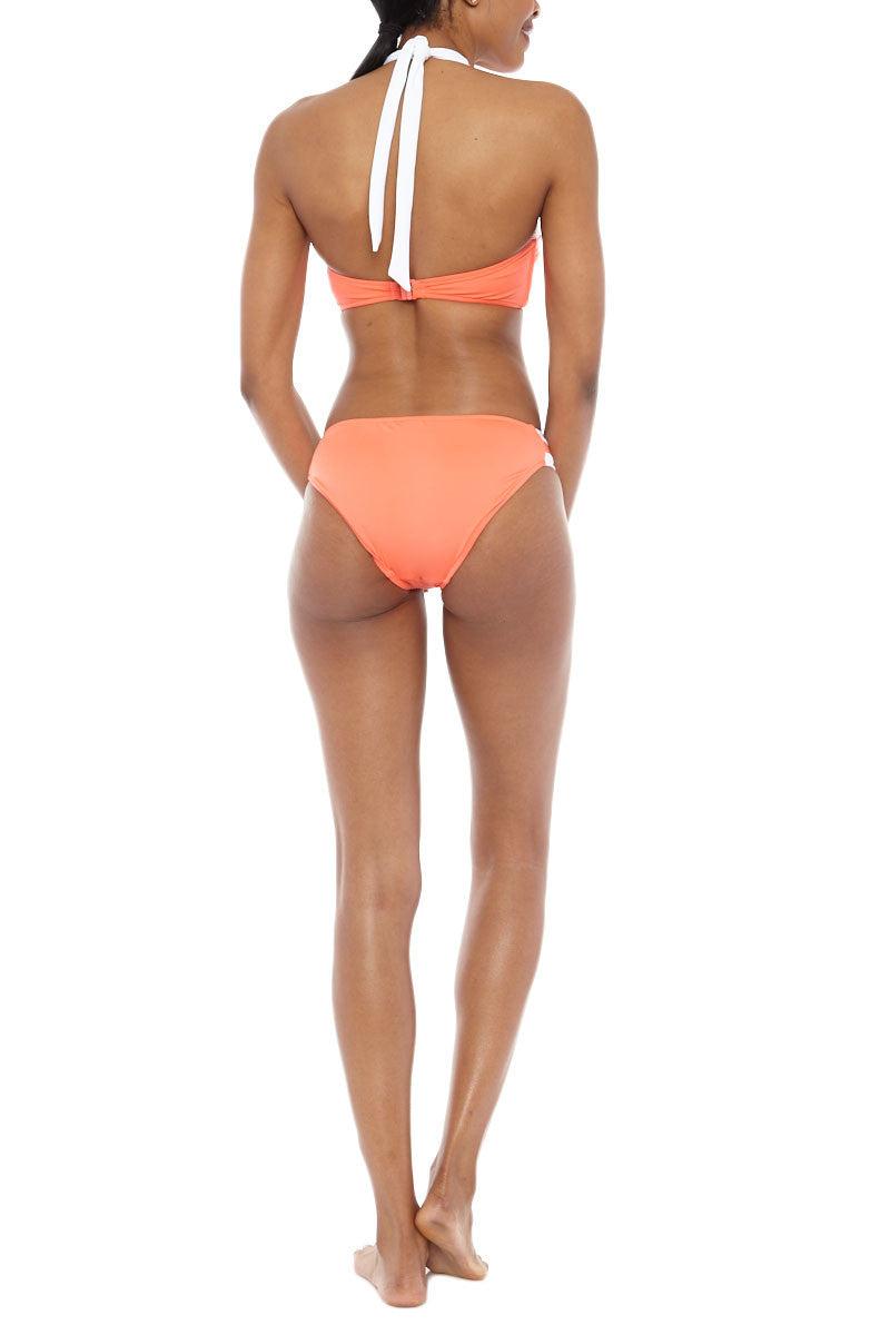 SEAFOLLY Block Party High Neck Bi-Color Bikini Top - Nectarine/White Bikini Top | Nectarine| Seafolly Block Party High Neck Bikini Top