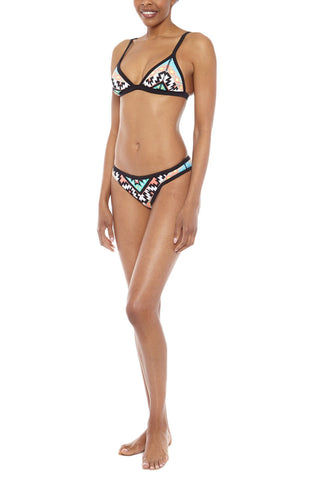 SEAFOLLY Scuba Triangle Bikini Top - Kasbah Summer Geometric Print Bikini Top | Kasbah Summer Geometric Print|Seafolly Scuba Triangle Bikini Top - Kasbah Summer Geometric Print Scuba triangle bikini top multicolor geometric print. Made from Scuba-Luxe Neoprene, this top has summer tones of aqua blue, coral pink, and white framed in a bold black border. Front View
