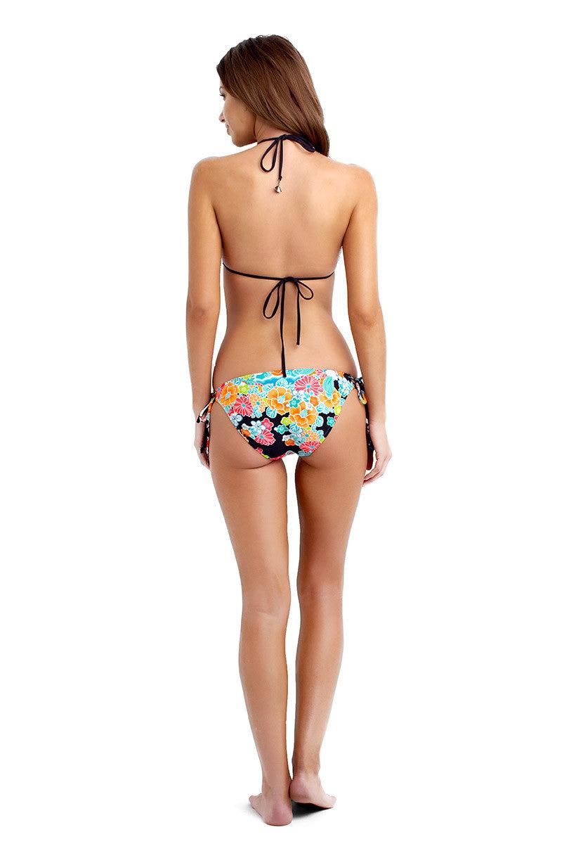 SEAFOLLY Kimono Rose Moderate Tie Side Bikini Bottom - Black & Rose Bikini Bottom | Black & Rose|