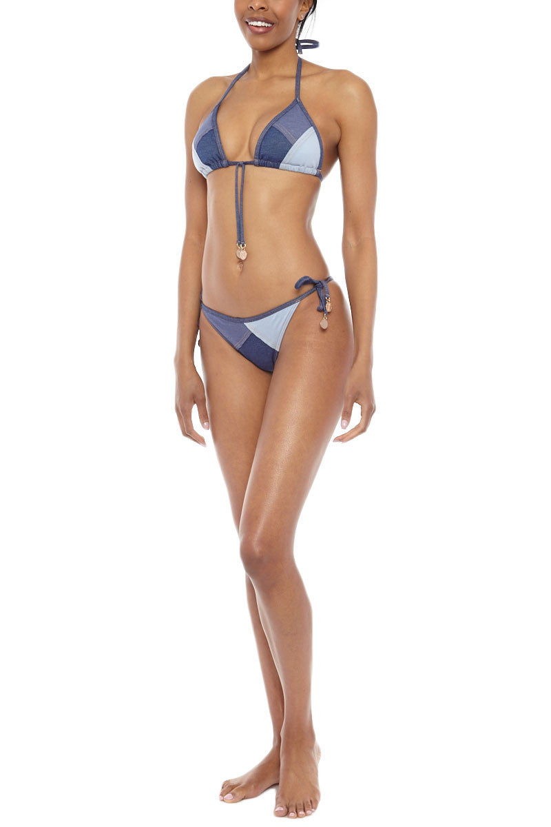 SEAFOLLY Out Of The Blue Bikini Bottom - Denim Bikini Bottom | Denim| Seafolly Out Of The Blue Bikini Bottom Denim tie side moderate cheeky coverage bikini bottom with patchwork detail featured in Essence magazine