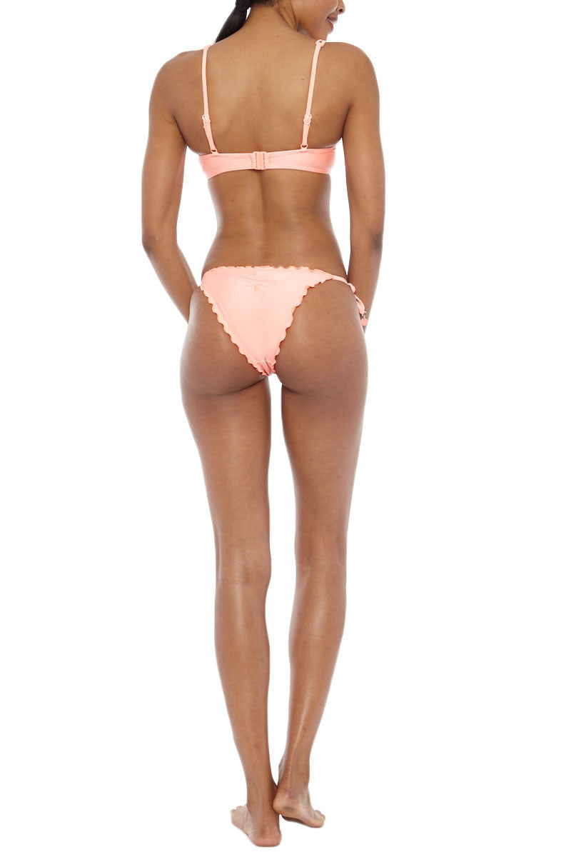 SEAFOLLY Shimmer Tie Side Bottom Bikini Bottom | Fluro Melon| Seafolly Shimmer Tie Side Bikini Bottom