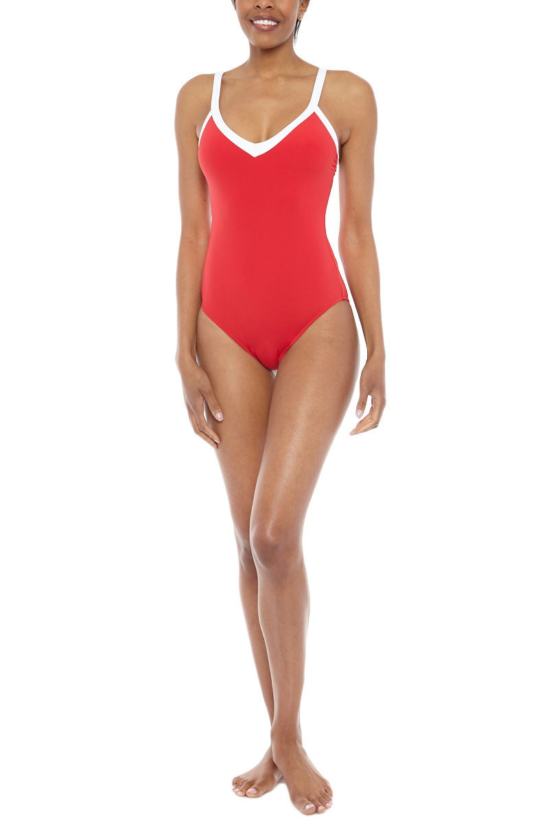 SEAFOLLY Sweetheart V Neck One Piece Swimsuit - Chilli Red One Piece | Chilli Red| Seafolly Sweetheart One Piece