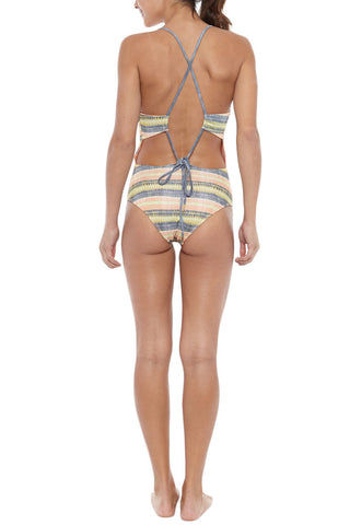 SEEA Anglet Lace Up Back One Piece Swimsuit - Alamo Abstract Stripe Print One Piece | Alamo Abstract Stripe Print |Seea Anglet Lace Up Back One Piece Swimsuit - Alamo Abstract Stripe Print Scoop neck one piece swimsuit in an elegant fit with a clean, seamless design Criss cross back detail features cut out back to show off those tanned shoulders. Back View
