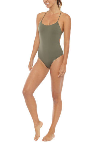 SERENDIPITY Jalan Criss Cross Back One Piece Swimsuit - Khaki Green One Piece | Khaki| Serendipity Jalan One Piece