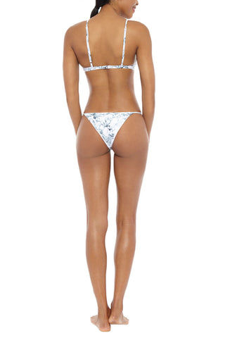 SERENDIPITY Sulima Triangle Bikini Top - White Marble Print Bikini Top | White Marble Print | Serendipity Serendipity Sulima Triangle Bikini Top - White Marble Print Triangle Top Adjustable Straps Soft Material Made in Barcelona 80% Polyamide, 20% Elastane Front View