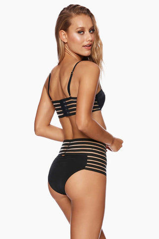 BEACH BUNNY Sheer Addiction Underwire Balconette Bikini Top - Black Bikini Top | Black| Beach Bunny Sheer Addiction Underwire Balconette Bikini Top - Black Underwire Bikini Top  Adjustable Shoulder Straps  Sheer Stripe Sides Back Hook Closure Back View