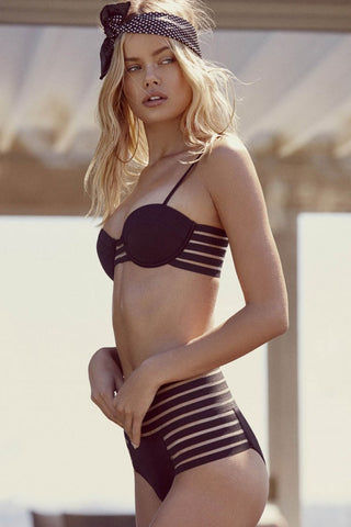 BEACH BUNNY Sheer Addiction Underwire Balconette Bikini Top - Black Bikini Top | Black| Beach Bunny Sheer Addiction Underwire Balconette Bikini Top - Black Underwire Bikini Top  Adjustable Shoulder Straps  Sheer Stripe Sides Back Hook Closure Front View