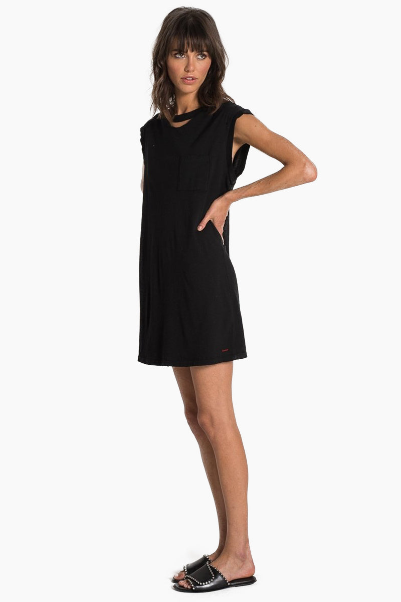 N:PHILANTHROPY Shotgun Dress - Black Cat Dress | Black Cat| N:PHILANTHROPY Shotgun Dress - Black Cat. Features:  High neckline with cutout detail Raw edge cap sleeves 100% Cotton jersey Machine wash cold like colors, lay flat to dry Made in LA Front View
