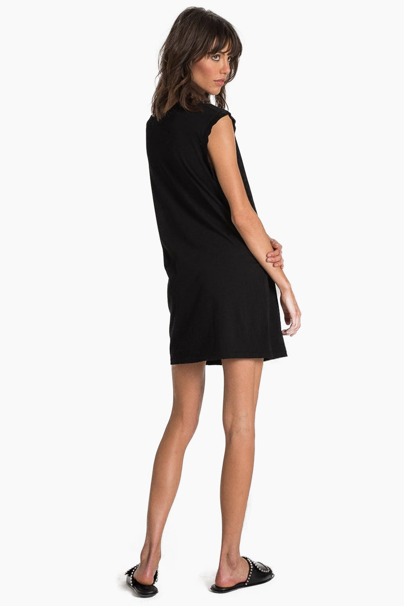 N:PHILANTHROPY Shotgun Dress - Black Cat Dress | Black Cat| N:PHILANTHROPY Shotgun Dress - Black Cat. Features:  High neckline with cutout detail Raw edge cap sleeves 100% Cotton jersey Machine wash cold like colors, lay flat to dry Made in LA Back View