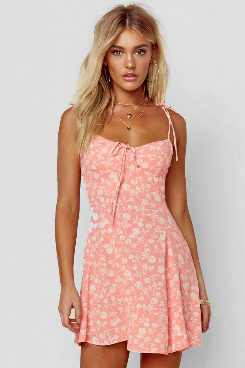 BLUE LIFE Sienna Corset Dress - Blushing Gardens Dress | Blushing Gardens| Blue Life Sienna Corset Dress - Blushing Gardens. Features:  Croset dress Dainty floral print throughout Sweetheart neckline with die detail ruched back Shoulder tie straps Made in USA Dry Clean Only 100% Rayon Front View
