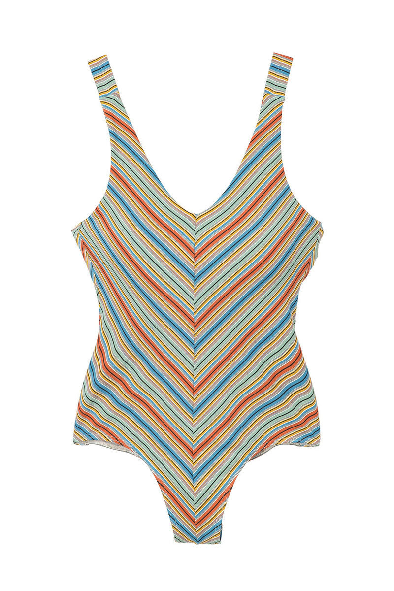 RVCA Sixteenth St Suspender-Style One Piece Swimsuit - Multi One Piece | Multi| RVCA Sixteenth St Suspender-Style One Piece - Multi Slight scoop v neckline Adjustable suspender-style shoulder straps Center back & front seam  High cut leg Cheeky Coverage Allover yarn dyed striped print  89% polyamide, 11% elastane Flatlay View