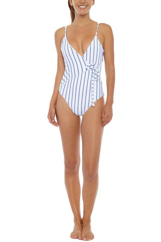 SKYE & STAGHORN Turkish Wrap Full One Piece Swimsuit - Muted Blue & White Stripe Print One Piece | Muted Blue & White Stripe Print| SKYE & Staghorn Turkish Wrap Full One Piece Swimsuit - Muted Blue & White Stripe Print V shaped front  Plunging scoop back Adjustable straps  Digitally printed lycra with wrap around detail  Fully lined  80% Nylon, 20% Spandex Front View