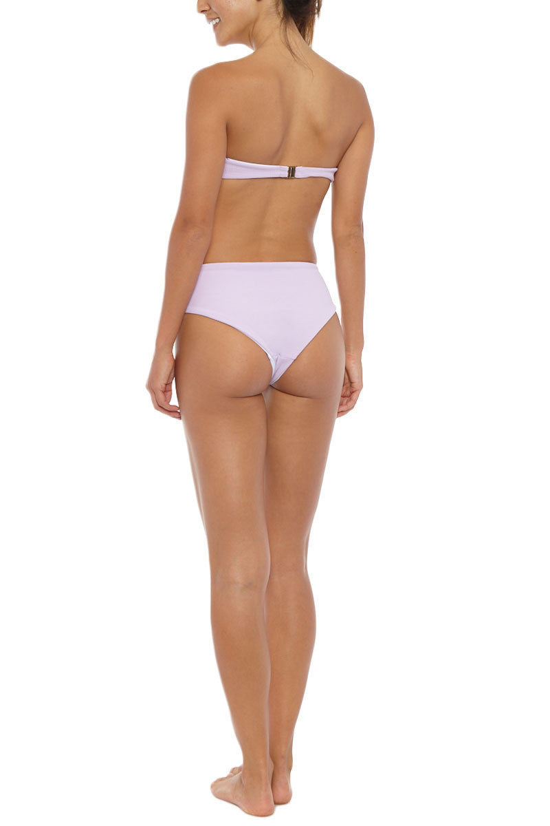 SKYE & STAGHORN Front Tie High Waist Bikini Bottom - Rhapsody Lilac Purple Bikini Bottom | Rhapsody Lilac Purple| Skye & Staghorn Front Tie High Waist Bikini Bottom - Rhapsody Lilac Purple High waisted tie up bottom Moderate coverage  Fully lined  Buttery textured lycra  80% Nylon, 20% Spandex  Back View