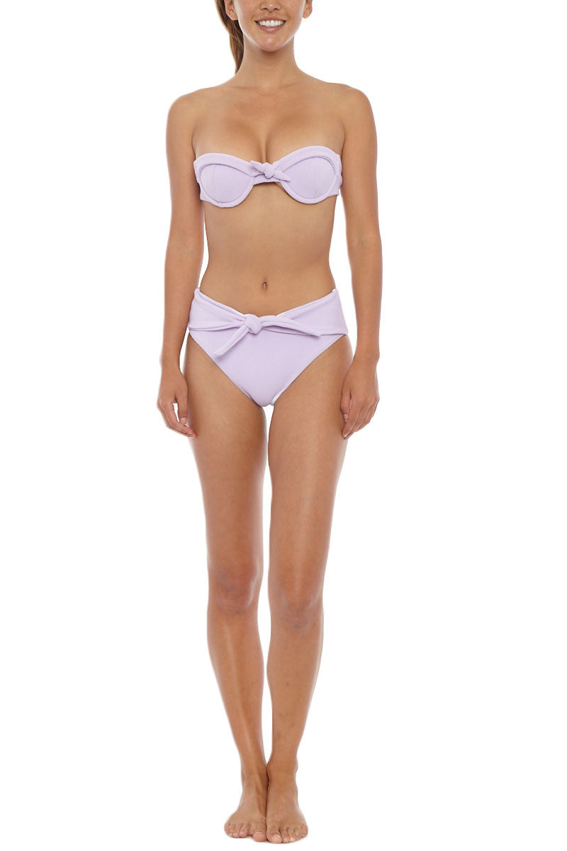 SKYE & STAGHORN Front Tie High Waist Bikini Bottom - Rhapsody Lilac Purple Bikini Bottom | Rhapsody Lilac Purple| Skye & Staghorn Front Tie High Waist Bikini Bottom - Rhapsody Lilac Purple High waisted tie up bottom Moderate coverage  Fully lined  Buttery textured lycra  80% Nylon, 20% Spandex  Front View