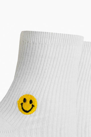 RICHER POORER Smiles Ankle Socks - White Accessories | White| Richer Pooer Smiles Ankle Socks - White. Features:  Anklet styling Lightweight Silver Lining Blend - a quality combed cotton blended with silver fibers for naturally occurring antimicrobial properties to help keep feet fresh and comfortable Arch support Reinforced toe and heel construction Front View