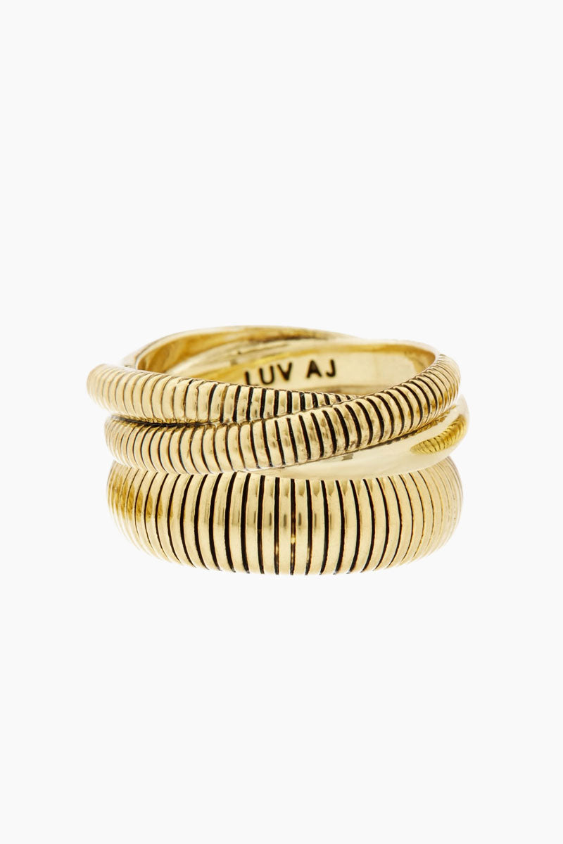 LUV AJ Snake Chain Cigar Ring Set - Gold Jewelry |  Gold| Luv Aj Snake Chain Cigar Ring - Gold. Features:  Set of Cigar Rings with Snake Chain-like texture Sold as a Set of 2 Can be Worn Layered Together or Separate Made From Brass Plated in Gold Front View