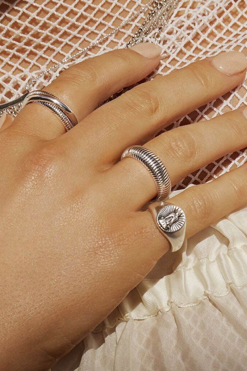 LUV AJ Snake Chain Cigar Ring Set - Silver Jewelry |  Silver| Luv Aj Snake Chain Cigar Ring - Silver. Features:  Set of Cigar Rings with Snake Chain-like texture Sold as a Set of 2 Can be Worn Layered Together or Separate Made From Brass Plated in Silver Front View