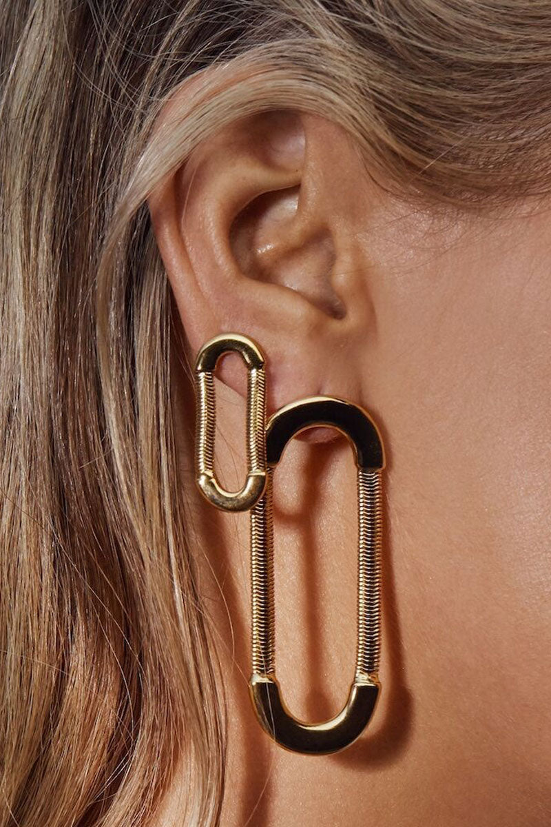 "LUV AJ Snake Chain Loop Studs - Gold Jewelry |  Gold| Luv Aj Snake Chain Loop Studs - Gold. Features:  Statement Loop Earrings with Snake Chain Detail Earrings Stand Approx. 2.25"" Tall Earring posts are made with surgical steel, very hypo-allergenic Made from Brass Plated in Gold Front View"
