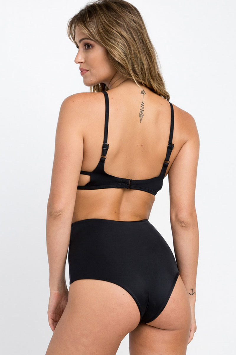 RVCA Solid Cut Out One Piece Swimsuit - Black One Piece | Black | RVCA Solid Cut Out One Piece - Black Slight Scoop Neckline  Shelf Bra with Removable Bra Cups Elastic Undercuts Binding Hook Back Closure Side Cut Outs Adjustable Shoulder Straps Moderate Coverage 80% polyamide, 20% elastane Back View