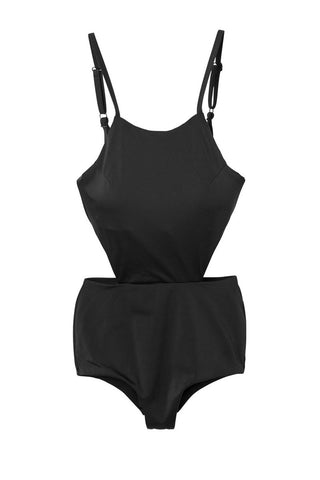 RVCA Solid Cut Out One Piece Swimsuit - Black One Piece | Black | RVCA Solid Cut Out One Piece - Black Slight Scoop Neckline  Shelf Bra with Removable Bra Cups Elastic Undercuts Binding Hook Back Closure Side Cut Outs Adjustable Shoulder Straps Moderate Coverage 80% polyamide, 20% elastane Flatlay View