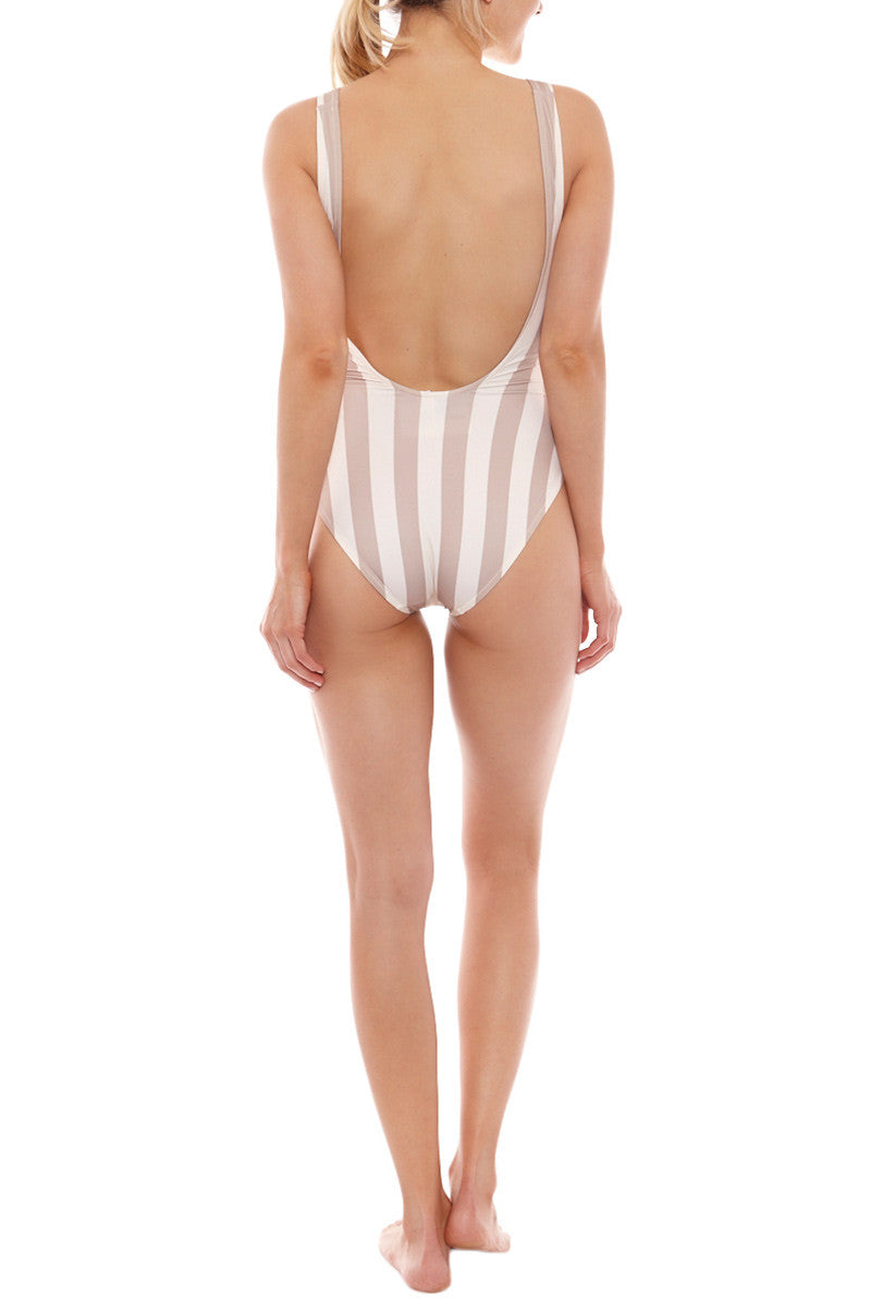 SOLID & STRIPED The Anne-Marie One Piece Swimsuit - Nude & Cream Stripe Print One Piece | Nude & Cream Stripe Print| Solid & Striped The Anne-Marie One Piece Swimsuit - Nude & Cream Stripe Print  Scoop neckline Thick shoulder straps  Low scoop back Moderate coverage  Italian fabric Back View