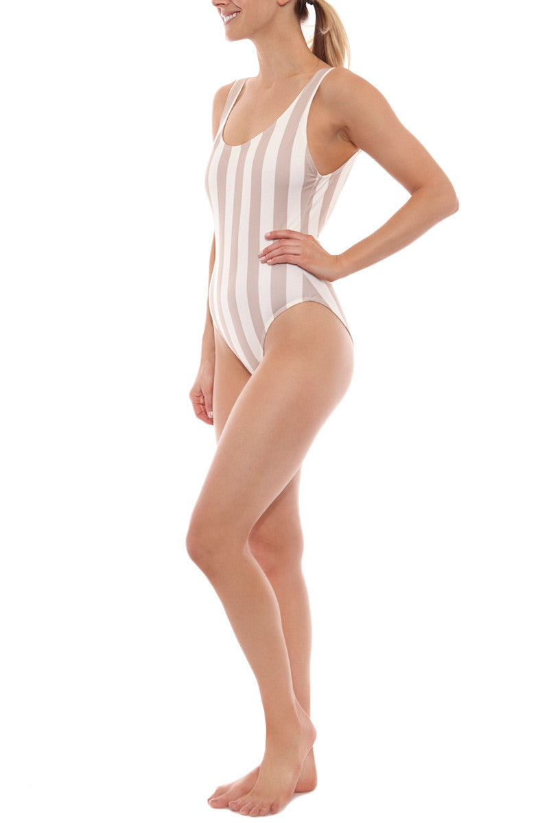 SOLID & STRIPED The Anne-Marie One Piece Swimsuit - Nude & Cream Stripe Print One Piece | Nude & Cream Stripe Print| Solid & Striped The Anne-Marie One Piece Swimsuit - Nude & Cream Stripe Print  Scoop neckline Thick shoulder straps  Low scoop back Moderate coverage  Italian fabric Side View